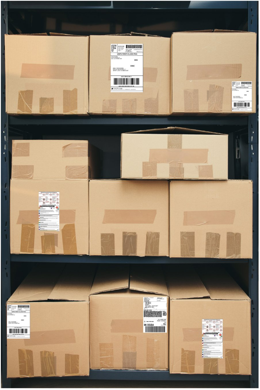 Parcels with BOUNTE Parcel Tracking Labels